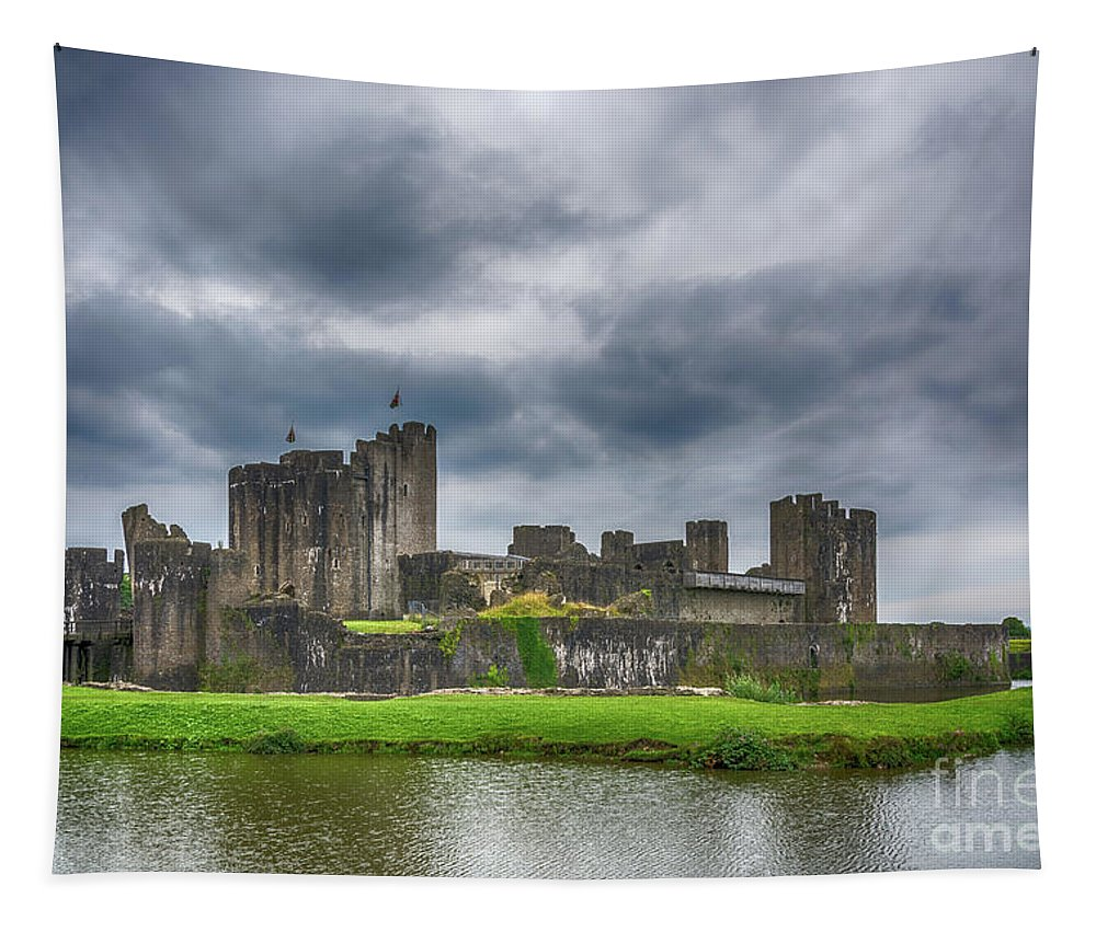 Caerphilly Castle Tapestry featuring the photograph Caerphilly Castle North View 3 by Steve Purnell