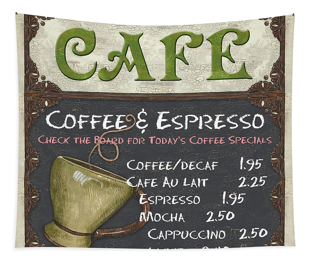Cafe Tapestry featuring the painting Cafe Chalkboard by Debbie DeWitt