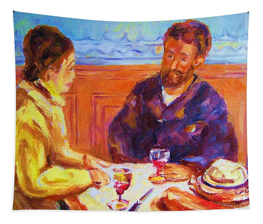Cafes Tapestry featuring the painting Cafe Renoir by Carole Spandau