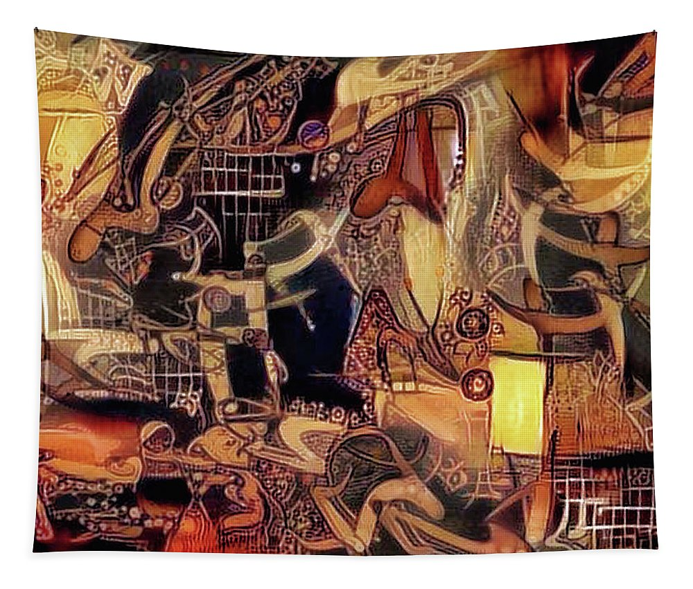 Abstract Tapestry featuring the mixed media Caged Luxury Syndrome  by Philip Openshaw