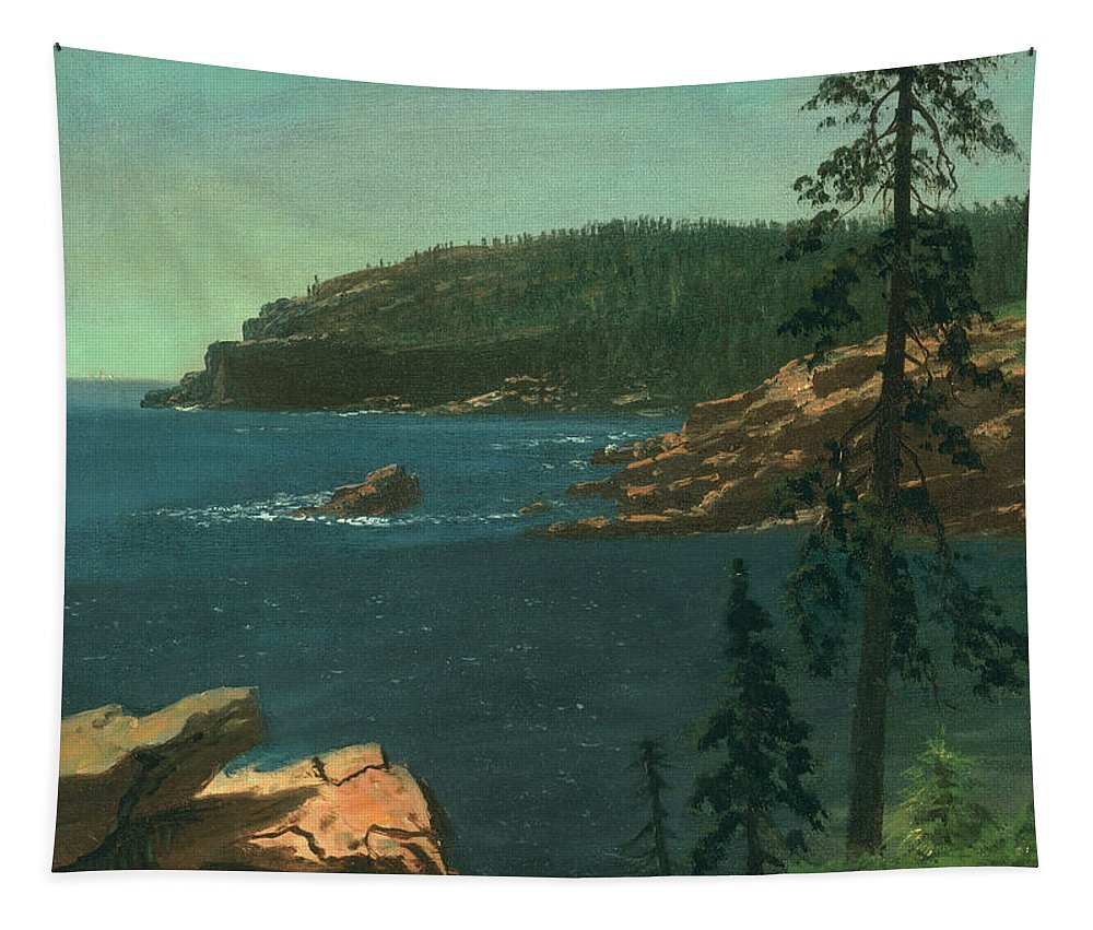 Albert Bierstadt Tapestry featuring the painting California Coast by Albert Bierstadt