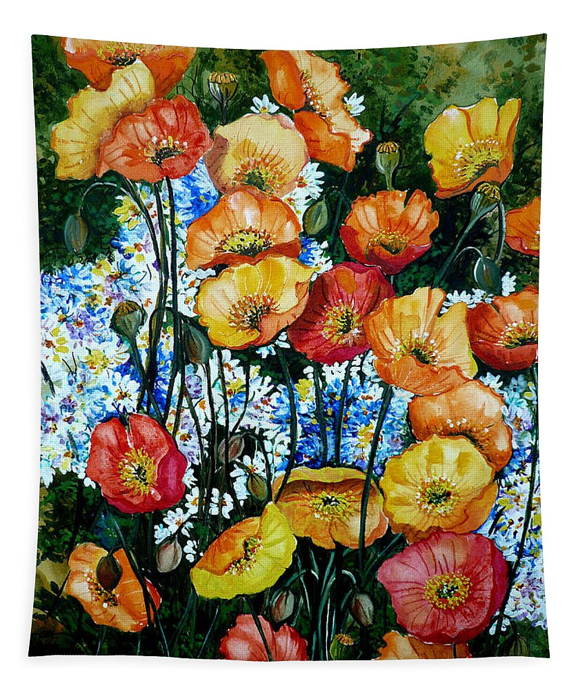 Poppy Painting Flower Painting Floral Painting California Poppy Painting Yellow Painting Orange Painting Botanical Painting Wild Poppy Painting Tapestry featuring the painting California Dreamz by Karin Dawn Kelshall- Best