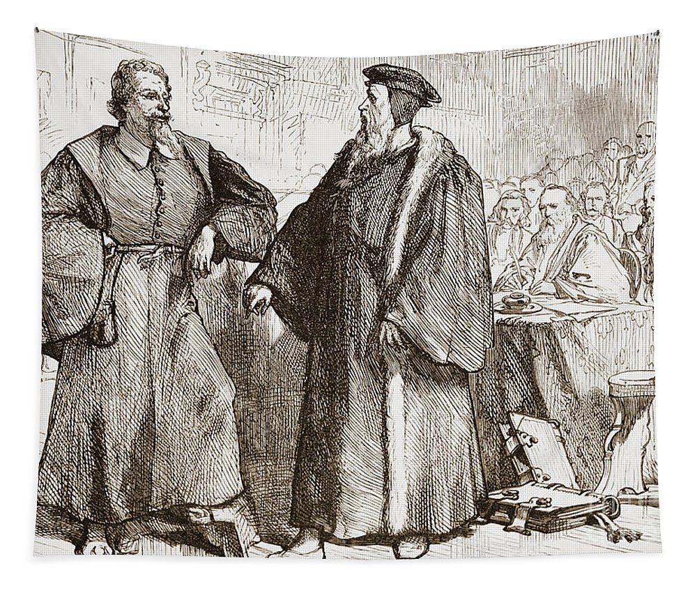 John Calvin Tapestry featuring the drawing Calvin And Servetus Before The Council Of Geneva by English School