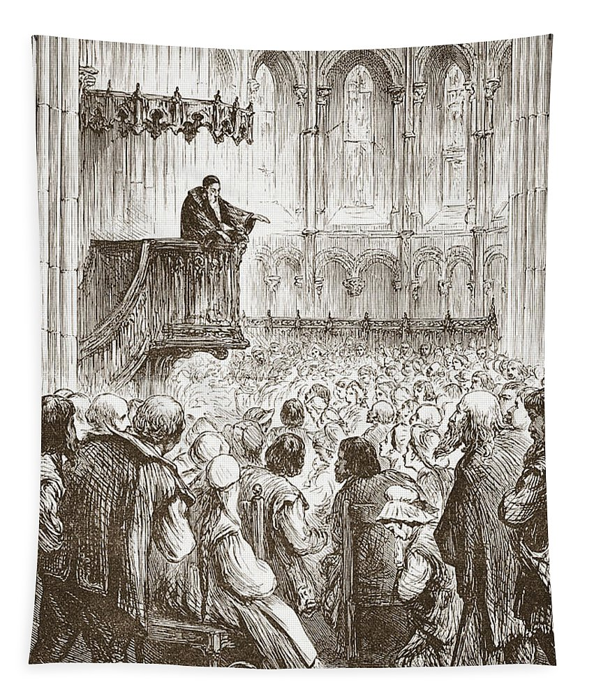 Preaching Tapestry featuring the drawing Calvin Preaching His Farewell Sermon In Expectation Of Banishment by English School