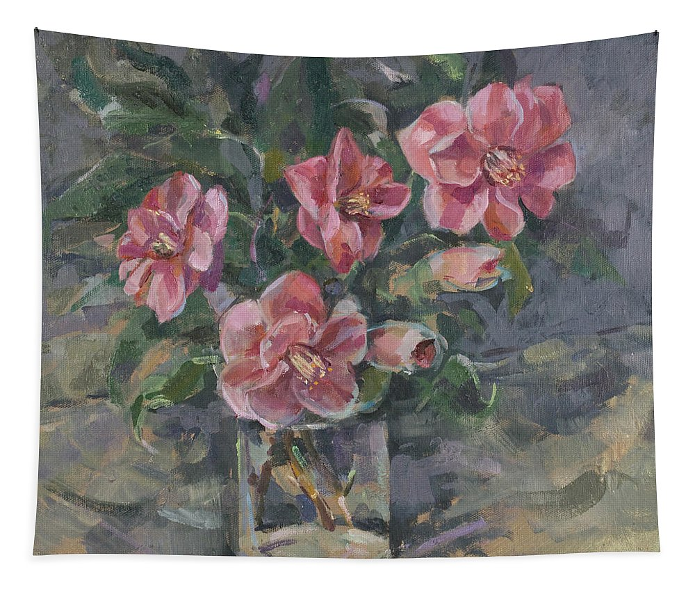 Still-life Tapestry featuring the painting Camellias by Sue Wales