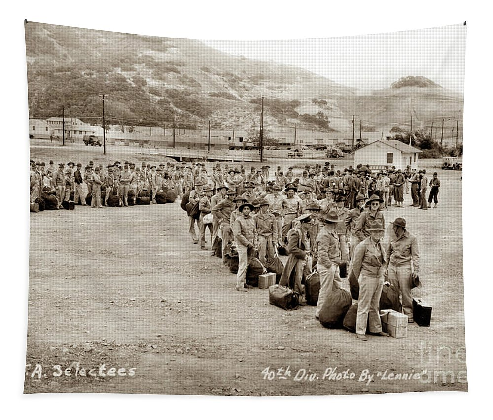 143rd Tapestry featuring the photograph Camp San Luis Obispo Army Base 40th Division Photo 143rd Field Artillery 1941 by California Views Archives Mr Pat Hathaway Archives