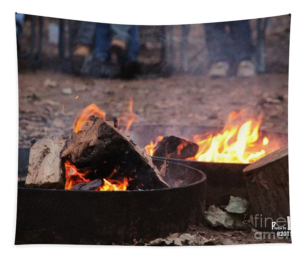 Camping Tapestry featuring the photograph Campfire by Linda James