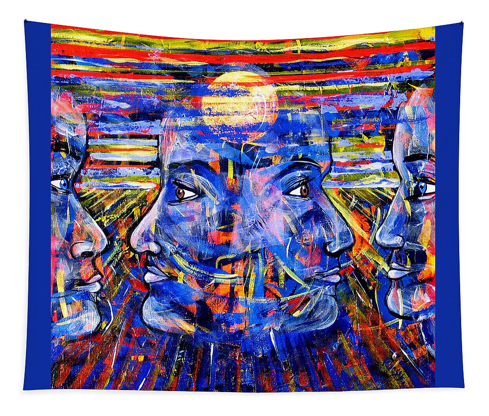 Confrontation Tapestry featuring the painting Can Not Live A Lie by Rollin Kocsis