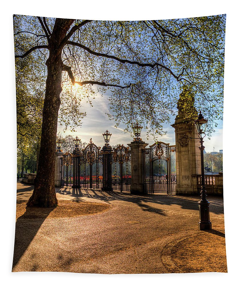 Green Park Tapestry featuring the photograph Canada Gate Green Park London by David Pyatt