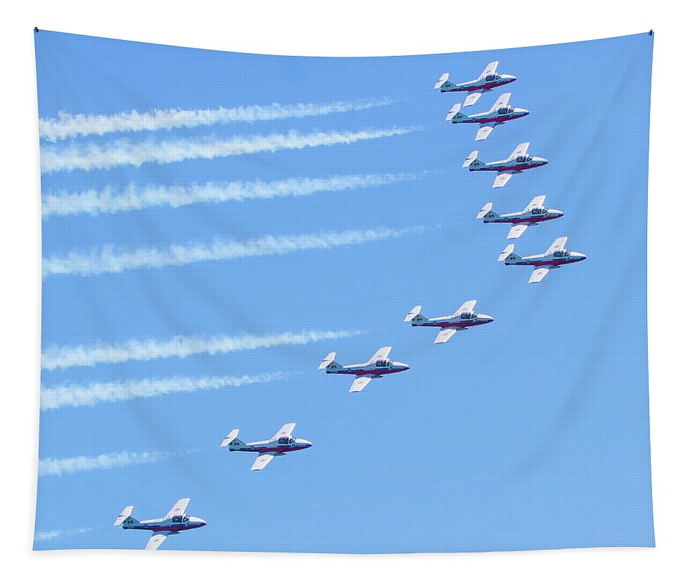 Air Force Tapestry featuring the photograph Canadian Air Force Snowbirds by Mark Andrew Thomas