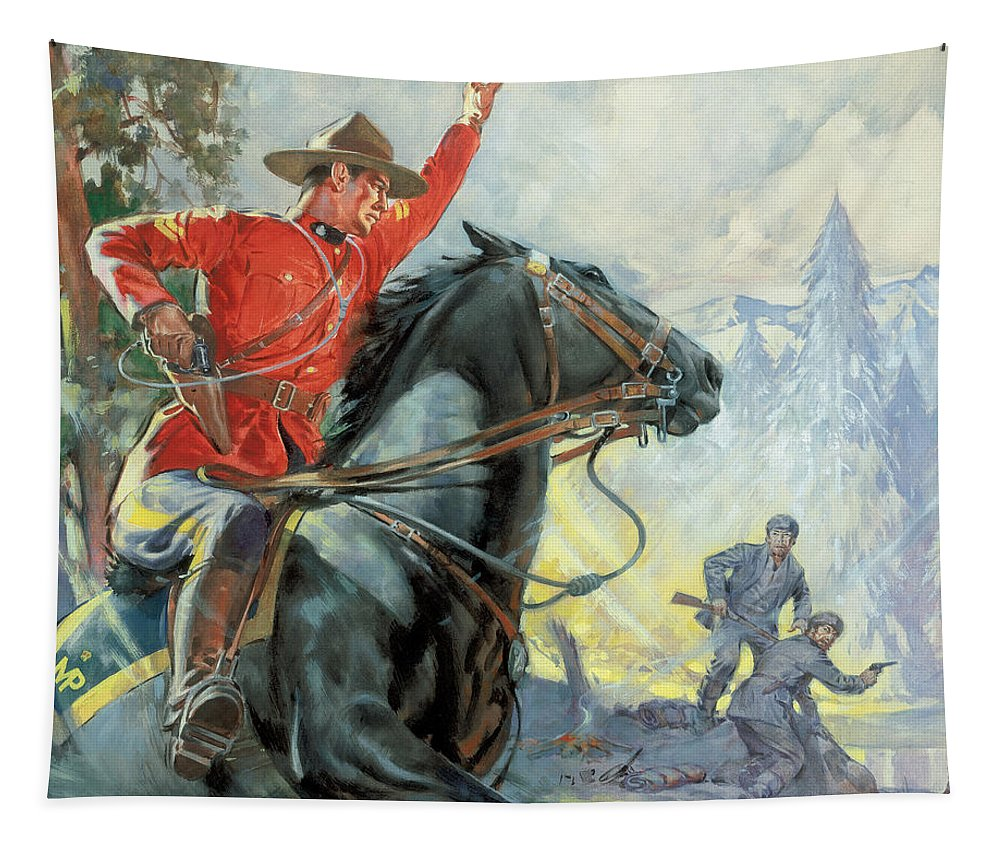 Canadian Tapestry featuring the painting Canadian Mounties by James Edwin McConnell