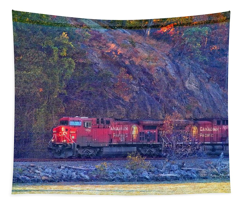 Canadian Pacific Train Tapestry featuring the photograph Canadian Pacific Reds by Alice Gipson