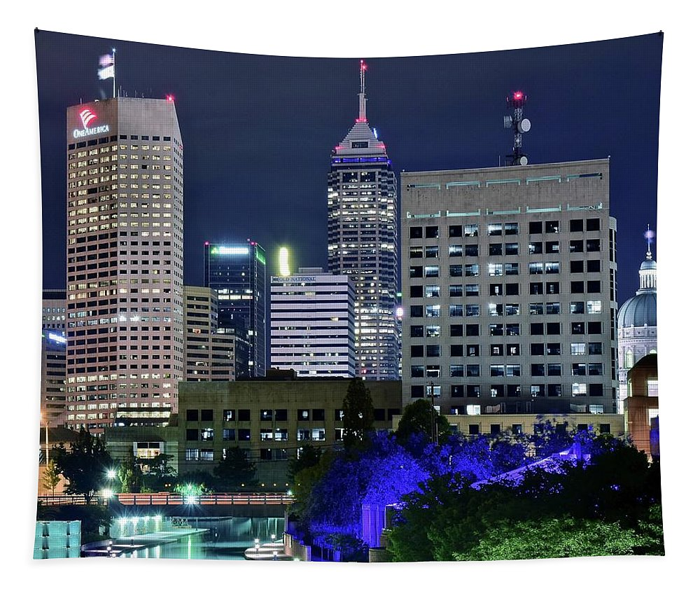 Indianapolis Tapestry featuring the photograph Canal At Night by Frozen in Time Fine Art Photography
