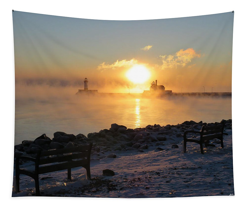 Sunrise Tapestry featuring the photograph Canal Park At 18 Below by Alison Gimpel