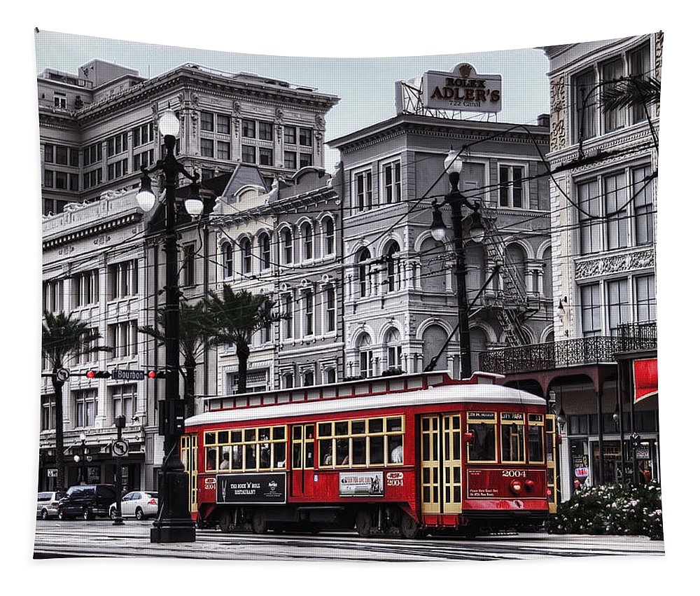 Nola Tapestry featuring the photograph Canal Street Trolley by Tammy Wetzel