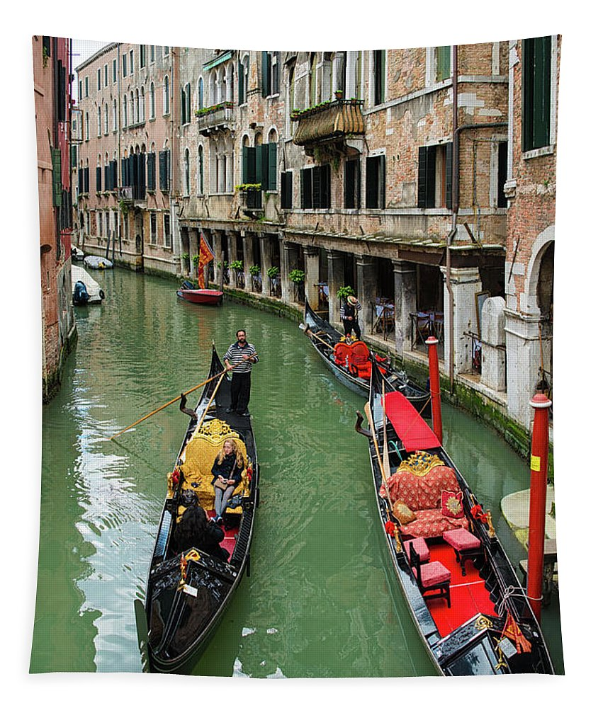 Venice Tapestry featuring the photograph Canal With Gondolas In Venice Italy by Matthias Hauser
