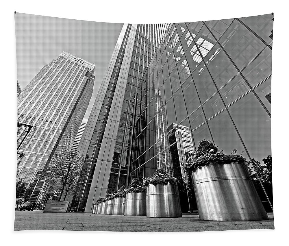 London Tapestry featuring the photograph Canary Wharf Financial District In Black And White by Gill Billington
