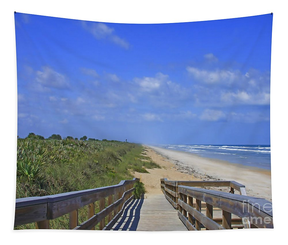 Canaveral Tapestry featuring the photograph Canaveral Walkway by Deborah Benoit