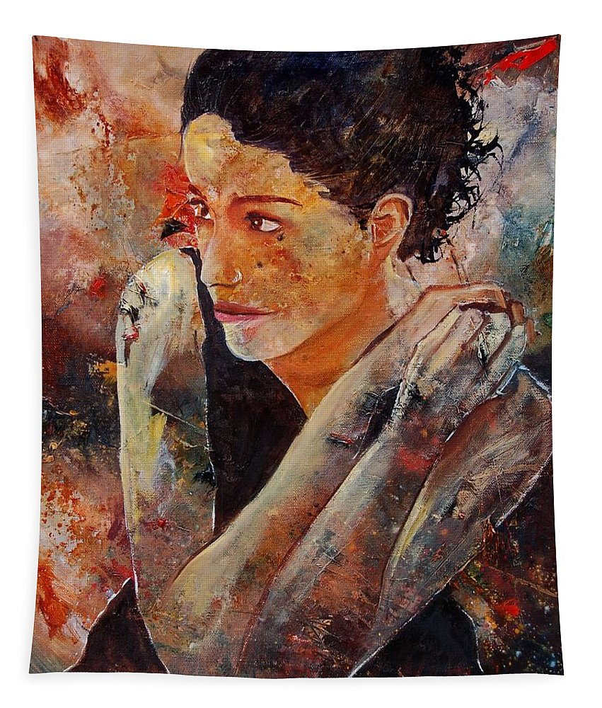 Figurative Tapestry featuring the painting Candid Eyes by Pol Ledent