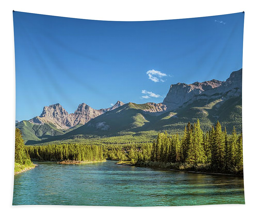 Joan Carroll Tapestry featuring the photograph Canmore Alberta Golden Hour by Joan Carroll