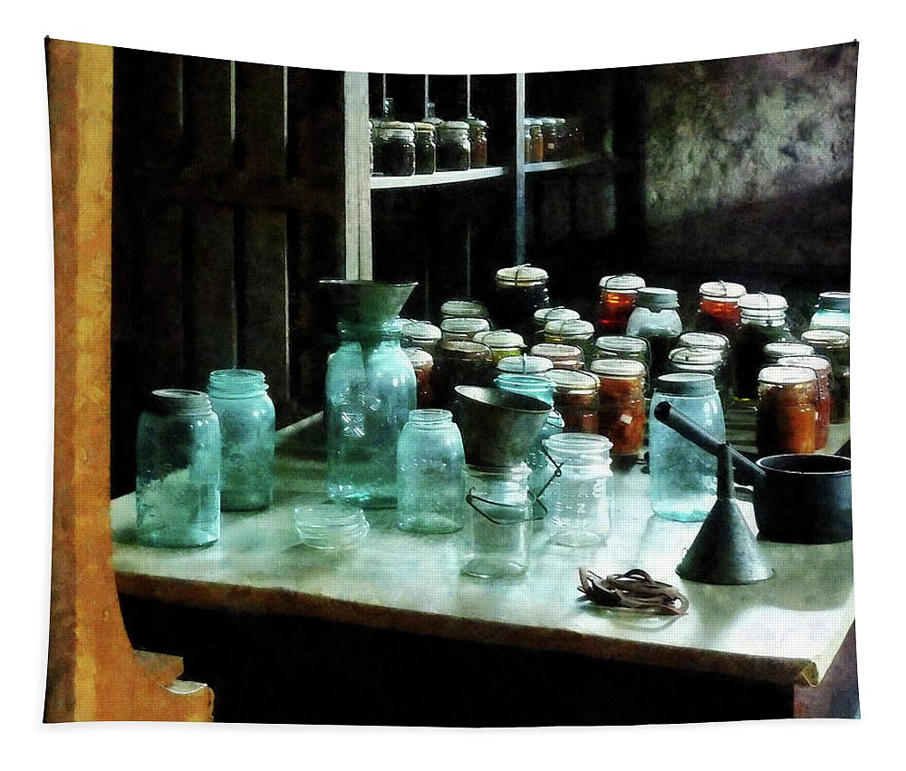 Canning Jars Tapestry featuring the photograph Canning Jars Ladles And Funnels by Susan Savad