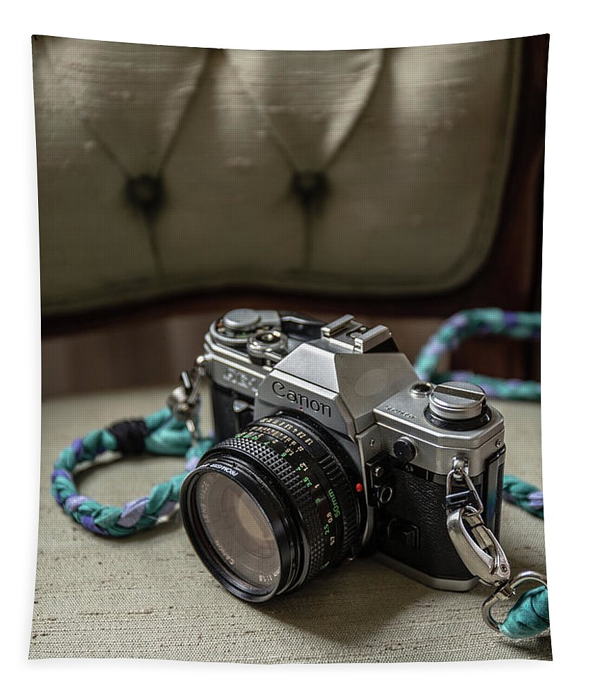 Fiilm Tapestry featuring the photograph Canon Ae-1 Film Camera by Edward Fielding