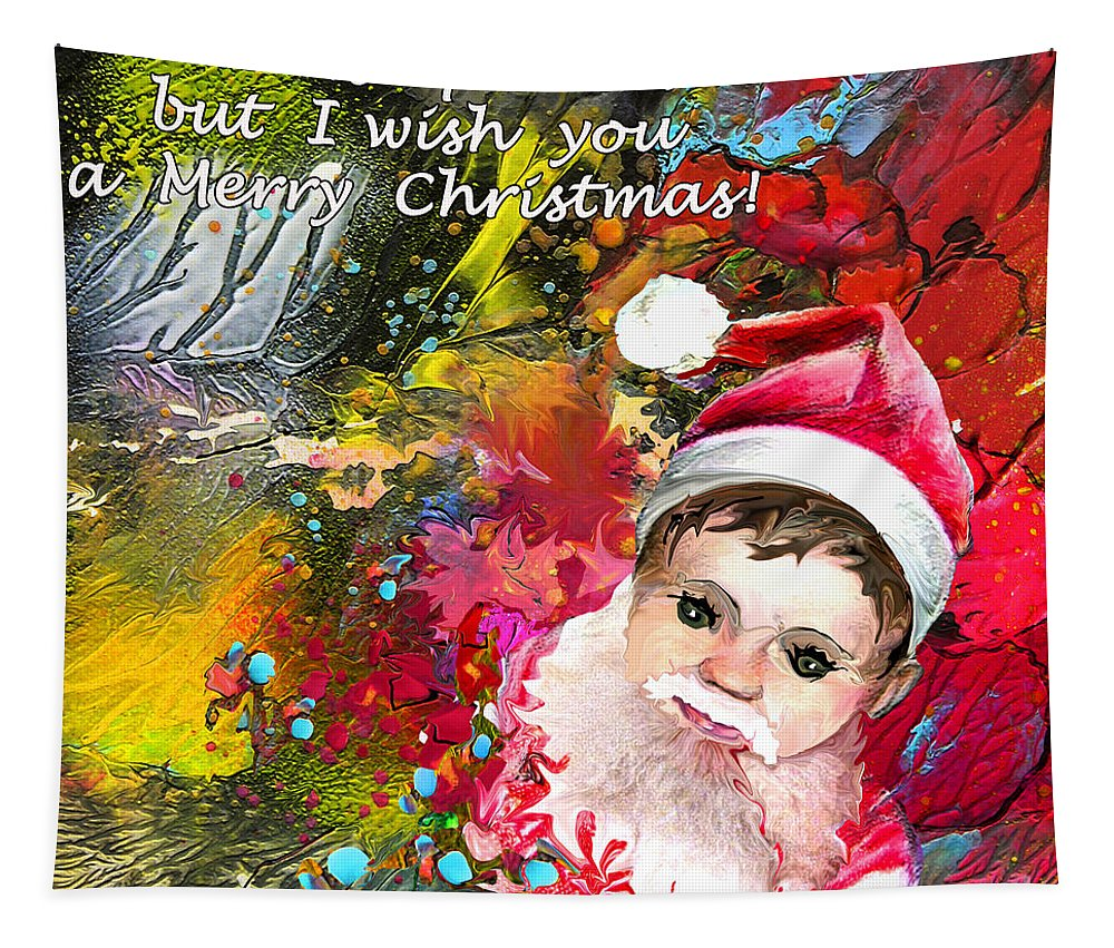 Santa Baby Painting Tapestry featuring the painting Cant Stop Now by Miki De Goodaboom