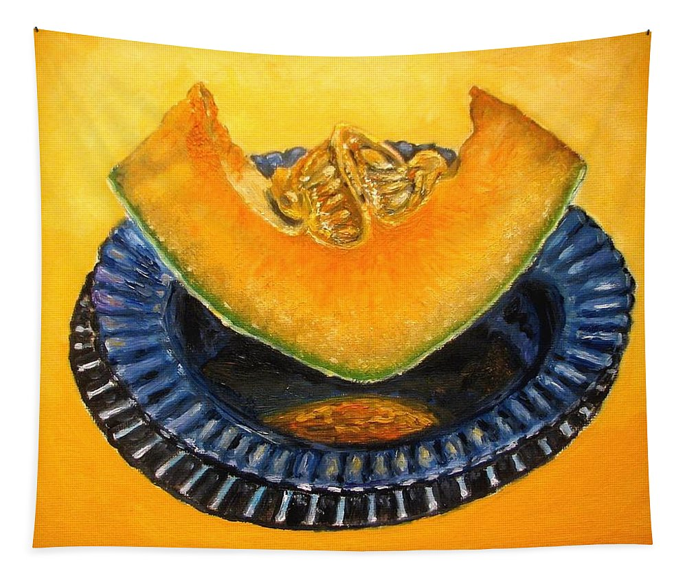 Cantaloupe Tapestry featuring the painting Cantaloupe Oil Painting by Natalja Picugina