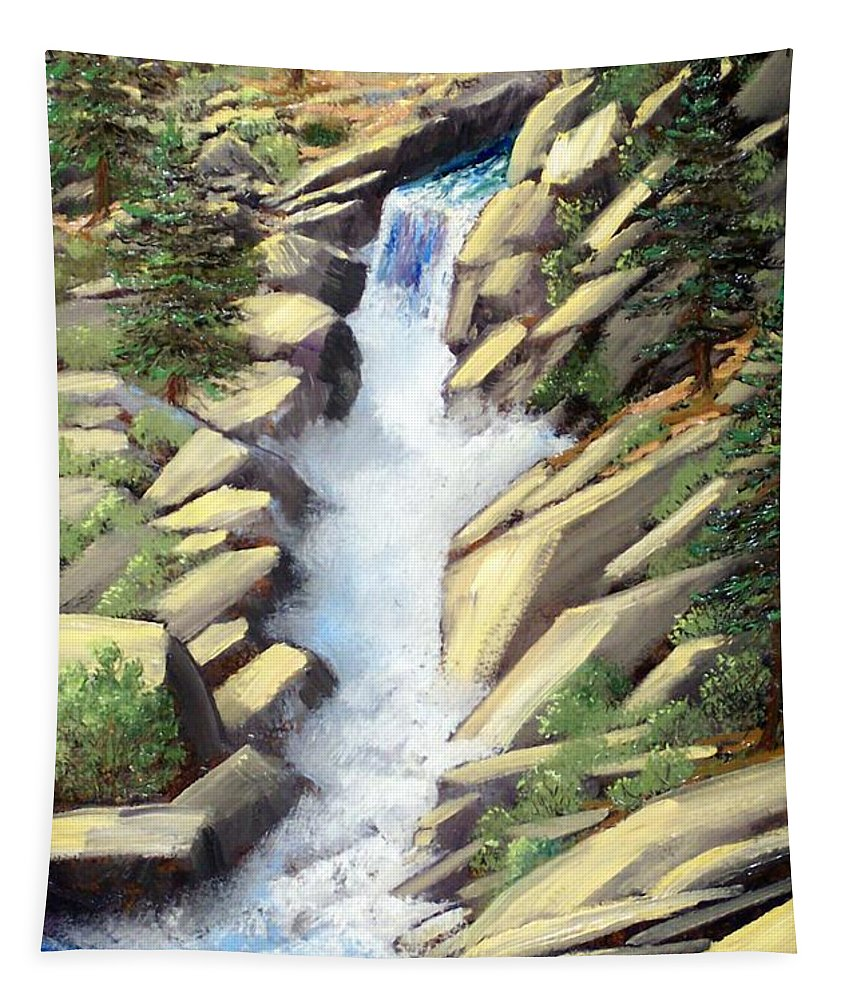 Landscape Tapestry featuring the painting Canyon Falls by Frank Wilson