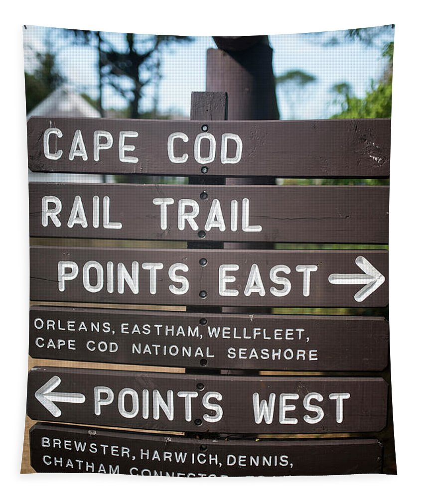 Cape Tapestry featuring the photograph Cape Cod Rail Trail Sign Eastham by Toby McGuire