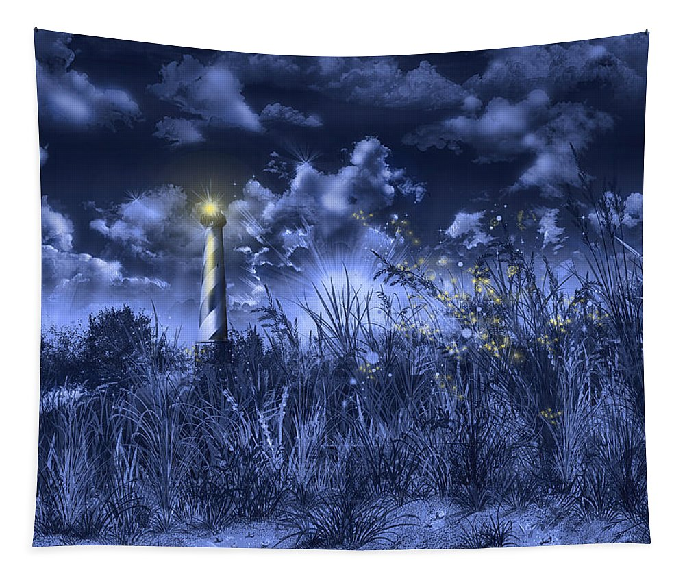 Cape Hatteras Tapestry featuring the painting Cape Hatteras Lighthouse 2 by Bekim Art