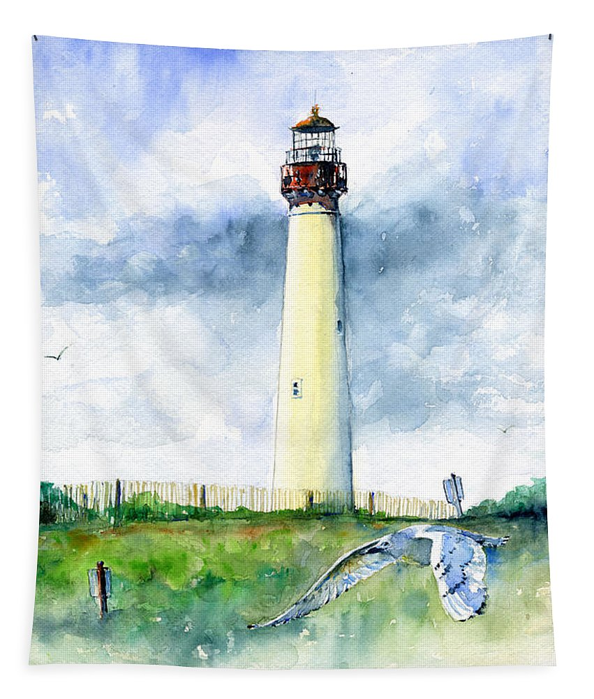 Lighthouse Tapestry featuring the painting Cape May Lighthouse by John D Benson