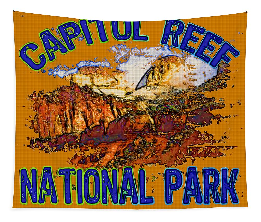 Capitol Reef National Park Tapestry featuring the digital art Capitol Reef National Park Utah by David G Paul