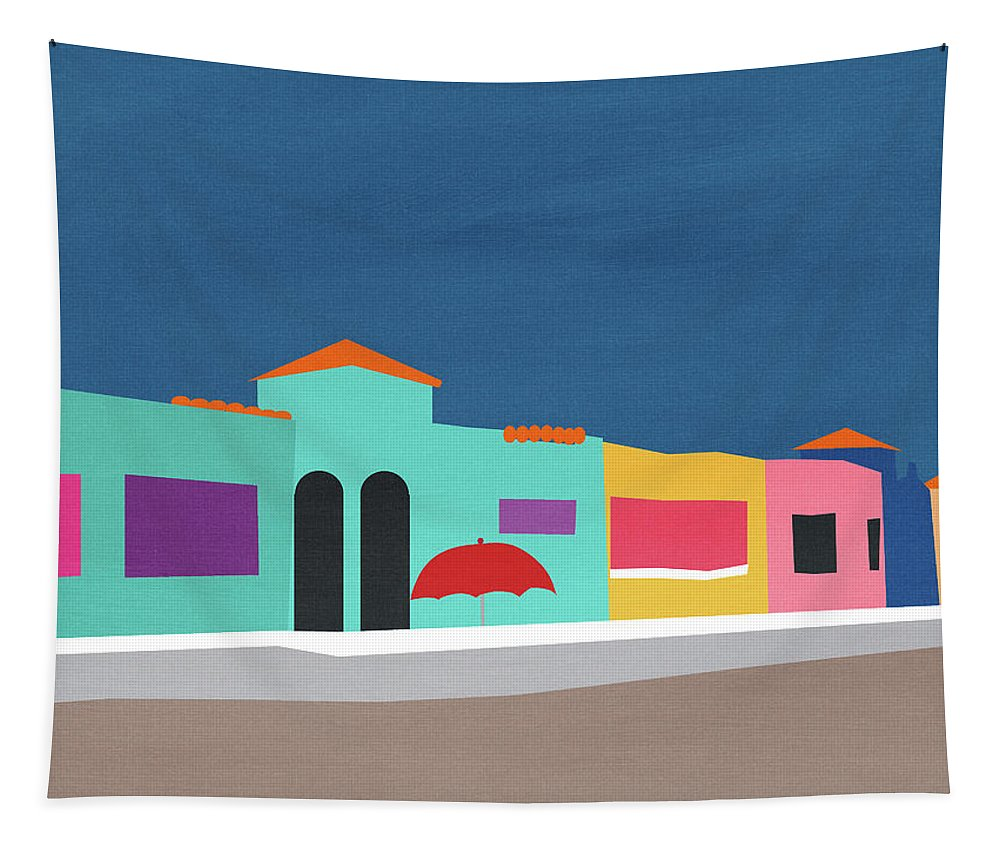 Beach Tapestry featuring the mixed media Capitola Venetian- Art By Linda Woods by Linda Woods