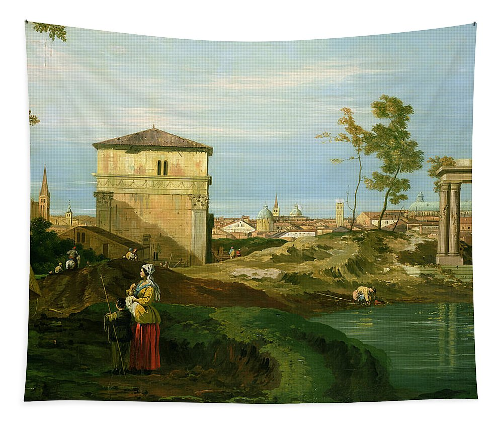 Canaletto Tapestry featuring the painting Capriccio With Motifs From Padua by Canaletto