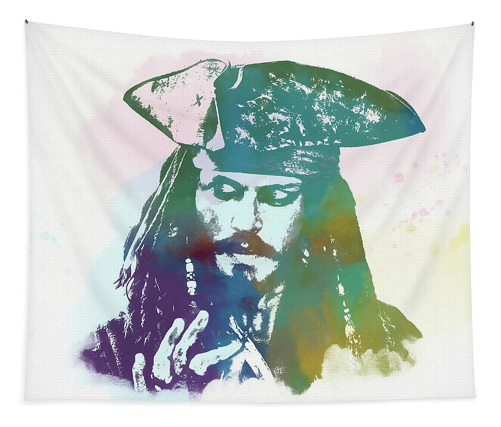 Captain Jack Sparrow Tapestry featuring the painting Captain Jack Sparrow by Dan Sproul