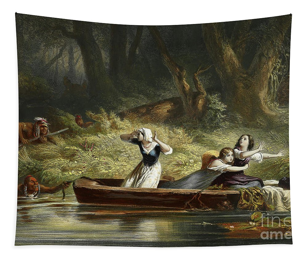 Indians Tapestry featuring the painting Capture Of The Daughters Of Daniel Boone And Richard Callaway By The Indians by Karl Bodmer