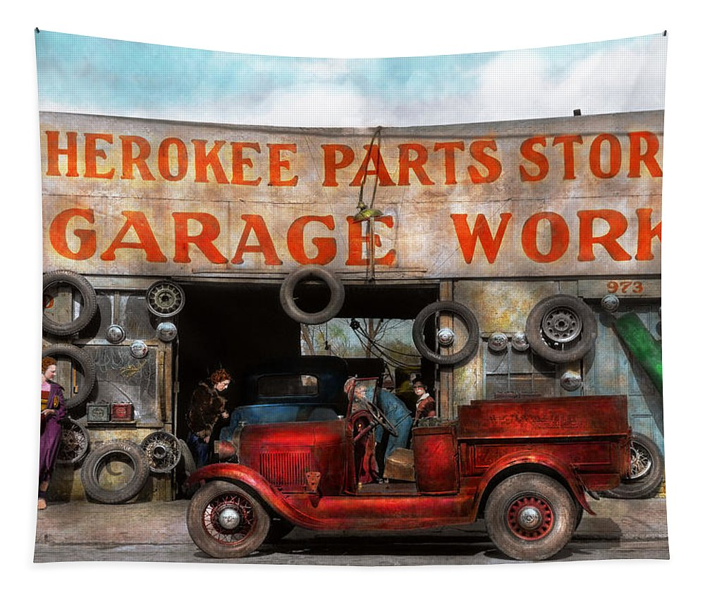 29 Ford Roadster Pickup Tapestry featuring the photograph Car - Garage - Cherokee Parts Store - 1936 by Mike Savad