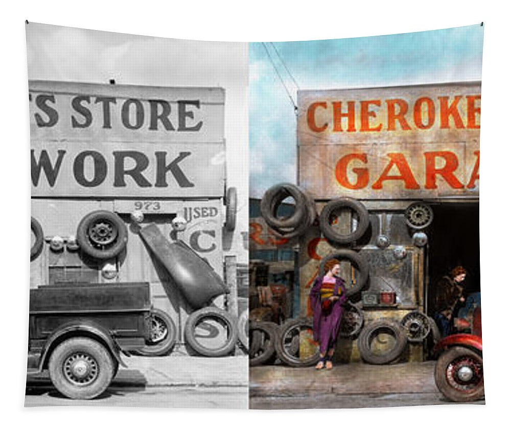 29 Ford Roadster Pickup Tapestry featuring the photograph Car - Garage - Cherokee Parts Store - 1936 - Side By Side by Mike Savad