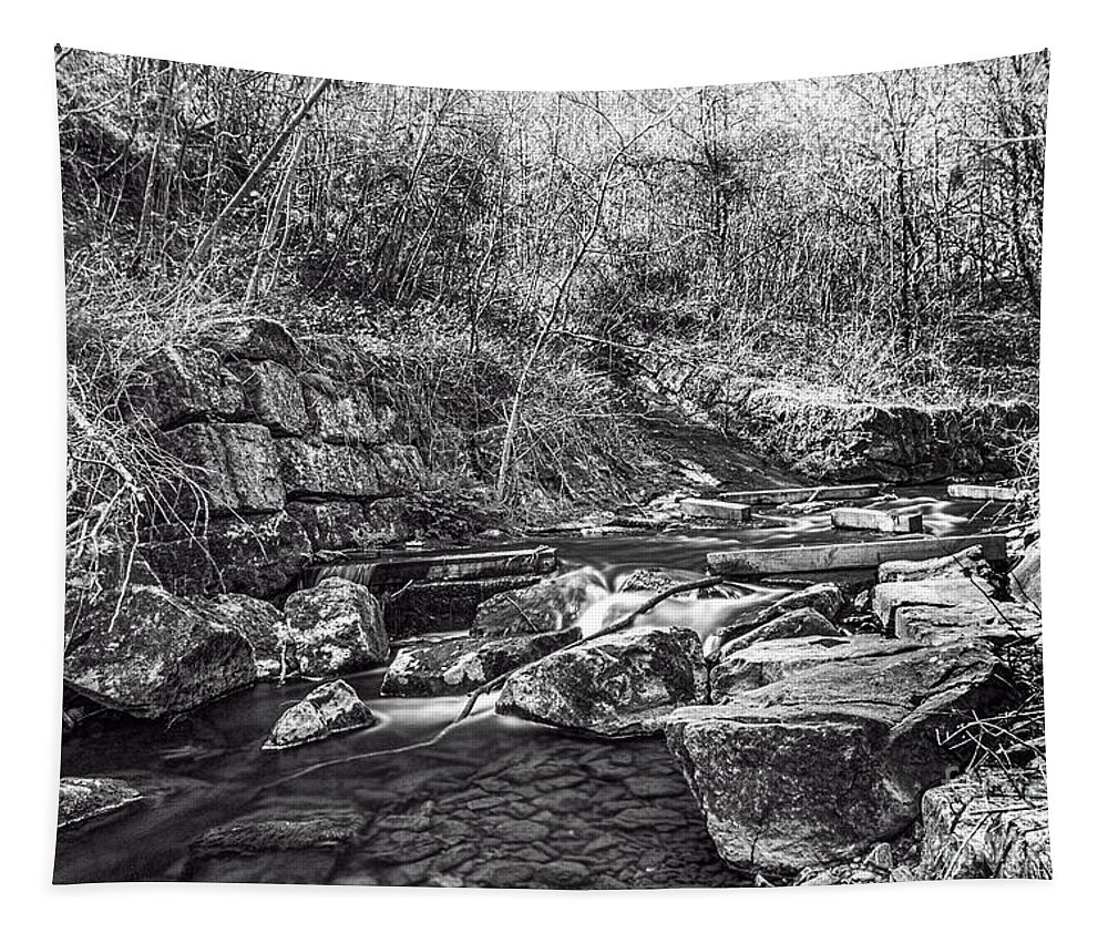 Caradocs Falls Tapestry featuring the photograph Caradocs Falls 2 Mono by Steve Purnell