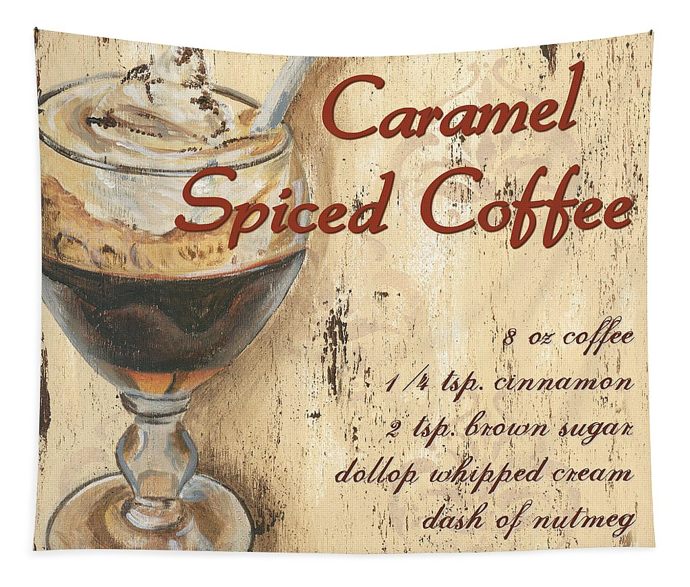 Coffee Tapestry featuring the painting Caramel Spiced Coffee by Debbie DeWitt