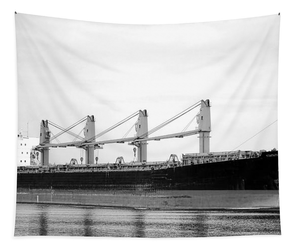 Cargo Tapestry featuring the photograph Cargo Ship On River by Olivier Le Queinec