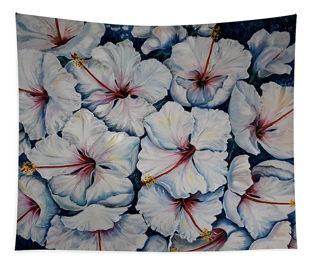 White Hibiscus Tapestry featuring the painting Caribbean Hibiscus by Karin Dawn Kelshall- Best
