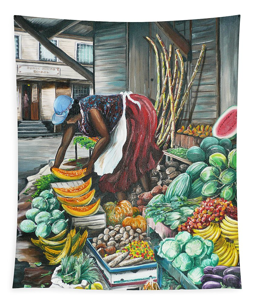 Caribbean Painting Market Vendor Painting Caribbean Market Painting Fruit Painting Vegetable Painting Woman Painting Tropical Painting City Scape Trinidad And Tobago Painting Typical Roadside Market Vendor In Trinidad Tapestry featuring the painting Caribbean Market Day by Karin Dawn Kelshall- Best