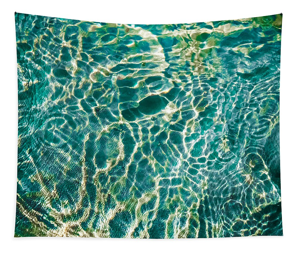 Water Abstracts Tapestry featuring the photograph Caribben Waters by Karen Wiles