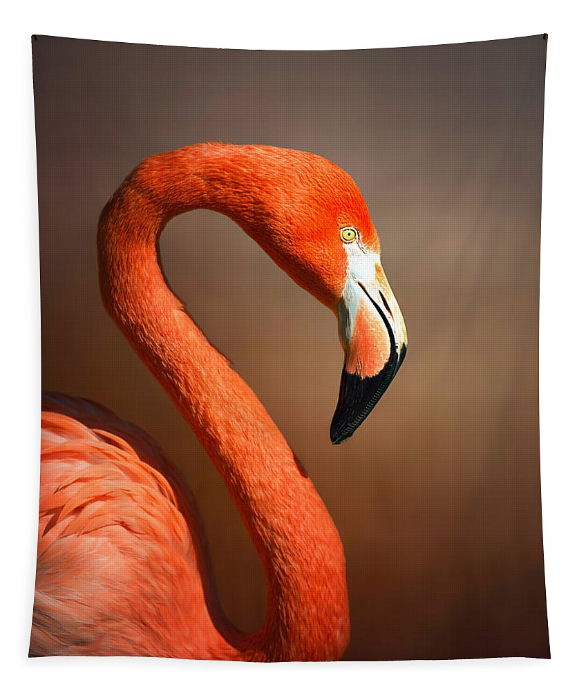 Flamingo Tapestry featuring the photograph Caribean Flamingo Portrait by Johan Swanepoel