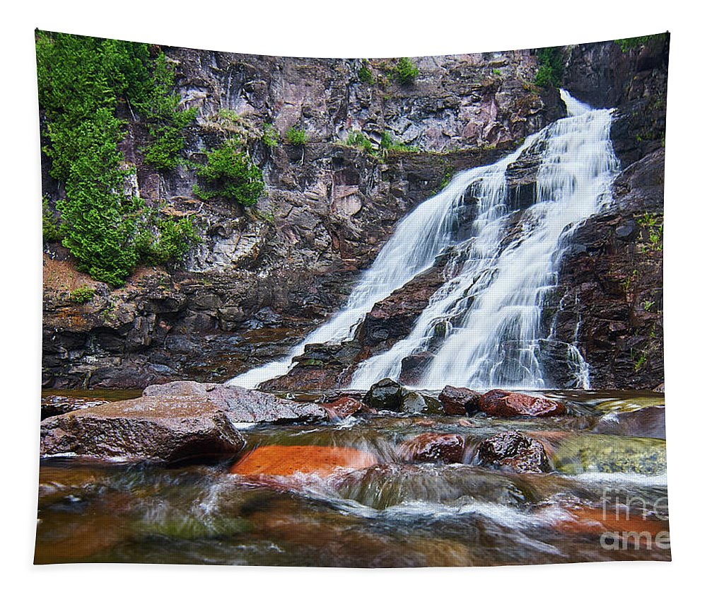 Caribou Falls Tapestry featuring the photograph Caribou Falls Cascade by Matt Rohlader