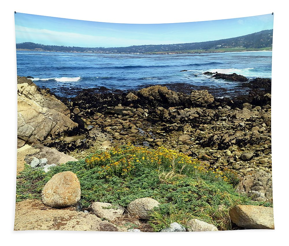 Beach Tapestry featuring the photograph Carmel Beach At Low Tide by Joyce Dickens