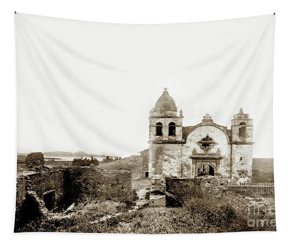 Carmel Mission Tapestry featuring the photograph Carmel Mission By A.j. Perkins 1880 by California Views Archives Mr Pat Hathaway Archives