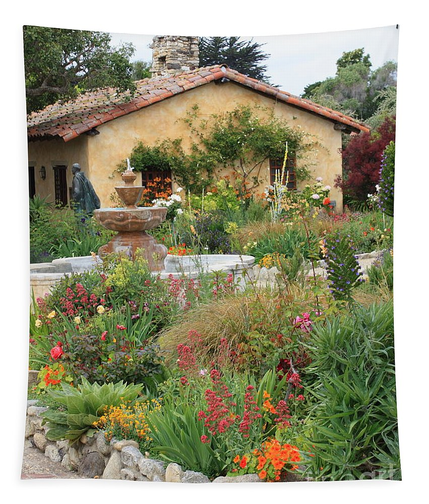 Carmel Mission Courtyard Tapestry featuring the photograph Carmel Mission Courtyard Garden by Carol Groenen